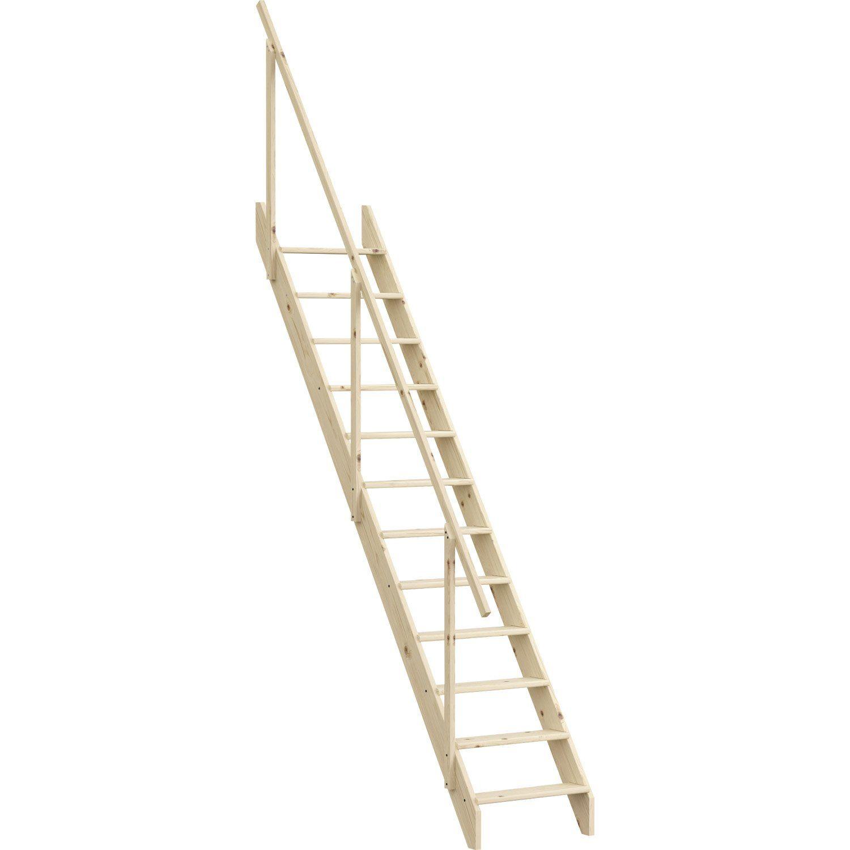 Escalier Droit Echelle De Meunier Avec Rampe Structure Bois Marche Bois Escalier Droit Escalier Escalier Meunier