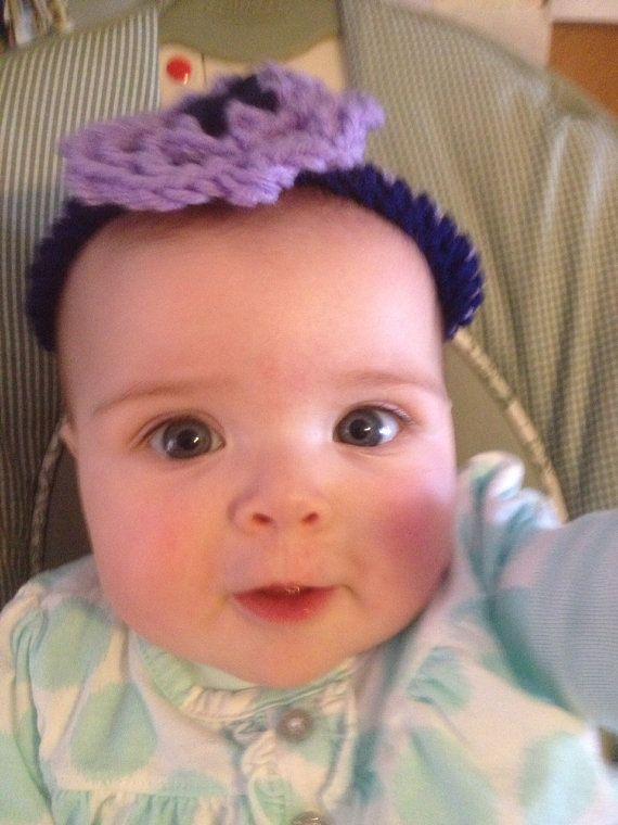 Navy and Purple flower crochet headband size 03 by LLCatsCrochet, $7.00