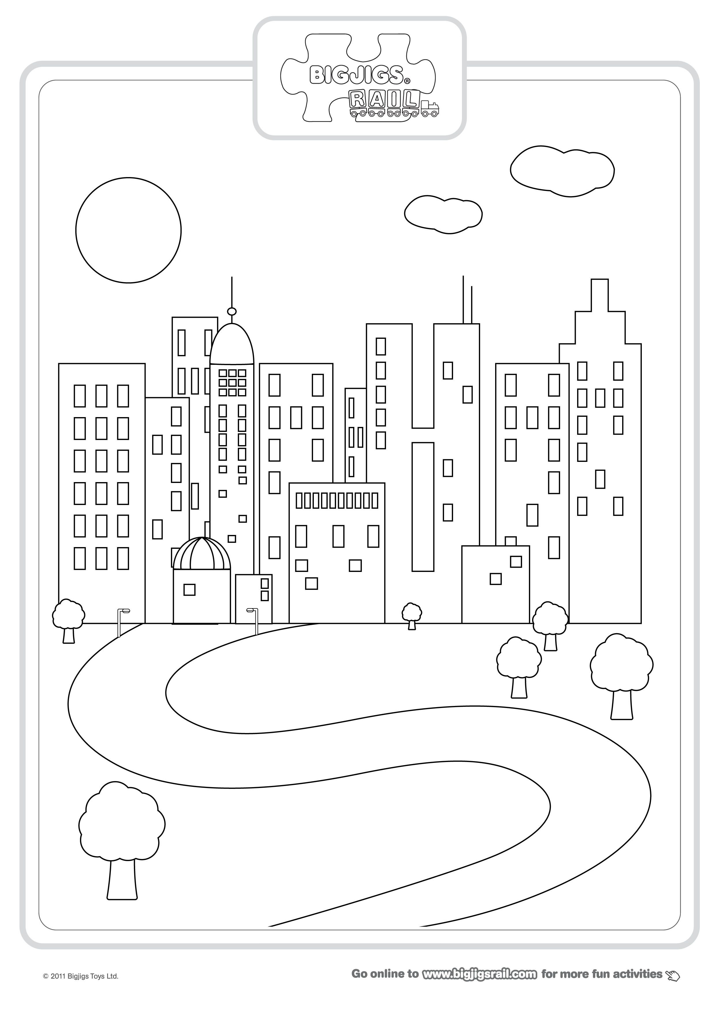 cityscape coloring page city