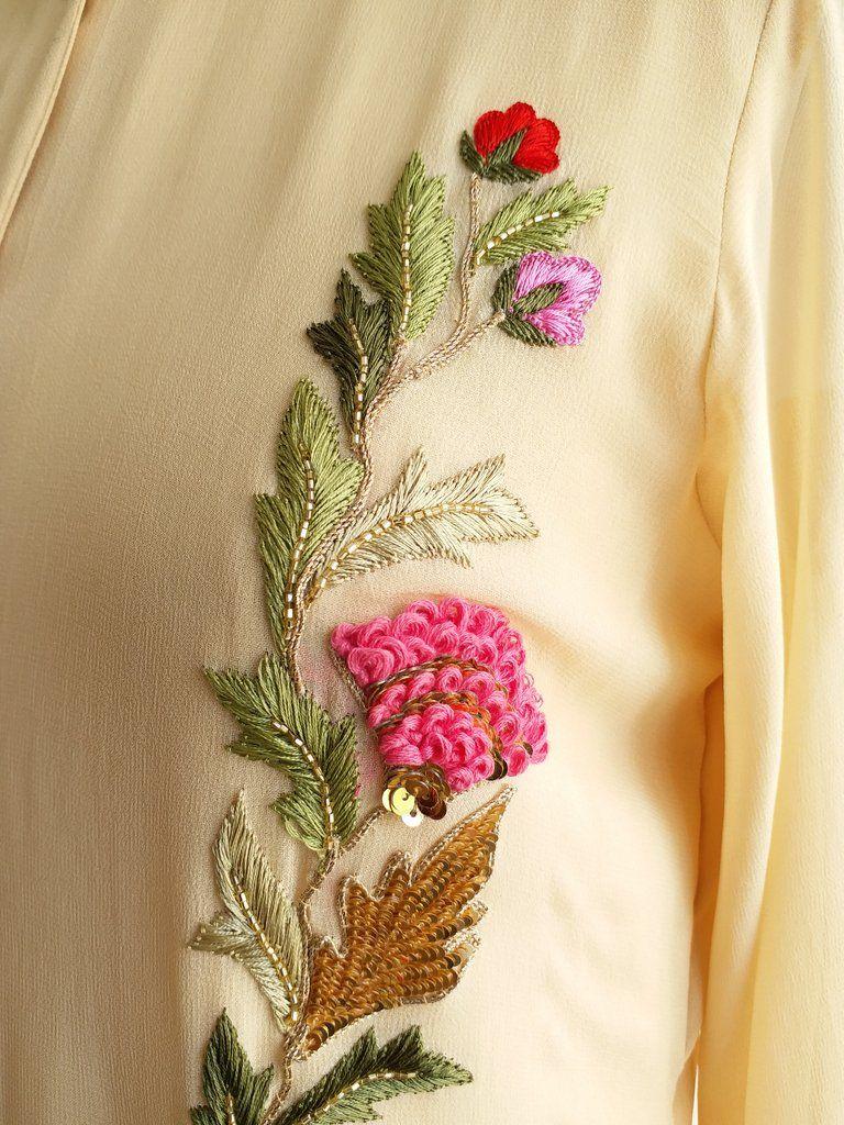 Ecru georgette kurta in details pinterest embroidery