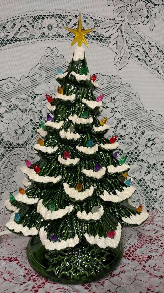 ceramic christmas tree lighted 14 nowell vintage mold green musical 2 - 14 Christmas Tree