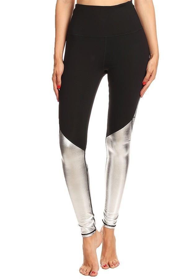 19d6e54713144 Glitter Mesh Black + Silver Workout Leggings | Ladies Activewear ...