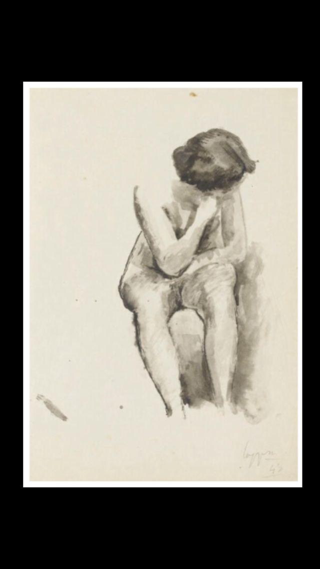 """Giuseppe Capogrossi - """" Nudo femminile seduto """", 1943 - Inchiostro e acquarello su carta - 35 x 24,8 cm"""
