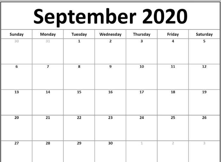 26+ Free Printable Editable September 2020 Calendar Printable JPG