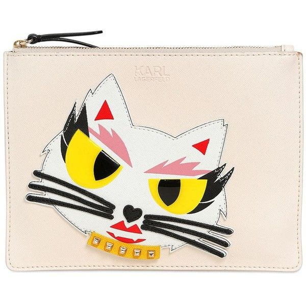 Karl Lagerfeld Women Monster Choupette Coated Canvas Pouch ($175) ❤ liked on Polyvore featuring bags, handbags, clutches, cream white, karl lagerfeld purse, white clutches, coated canvas handbags, pouch handbag and karl lagerfeld