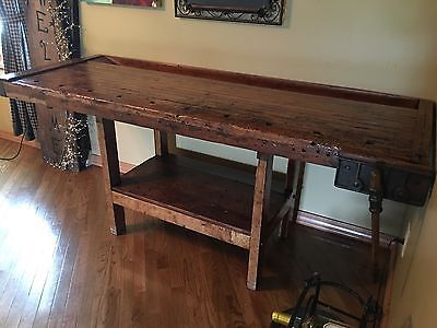 Beautiful Old Work Bench With Attached Vice Would Make A Nice Island Or Bar Antique Table Home Decor Table