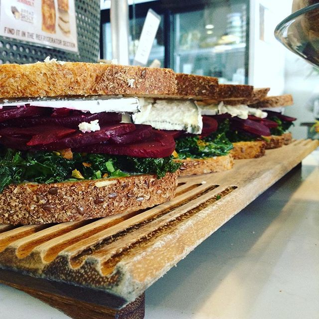 02/01/2018 #milkfarmlunch 1) FRENCH HAM: double creme Brie, cracked black pepper, & chive butter on ficelle 2) SPECK: fromage de meaux, fig jam, arugula, & EVOO on ficelle 3) BEETS: sautéed kale, toasted pistachios, aioli, & Humboldt Fog on multigrain 4) OLIVE: olive tapenade, oven roasted tomatoes, arugula, smoked mozzarella, fontina, & roasted garlic aioli on multigrain 5) MILKFARM GRILLED CHEESE