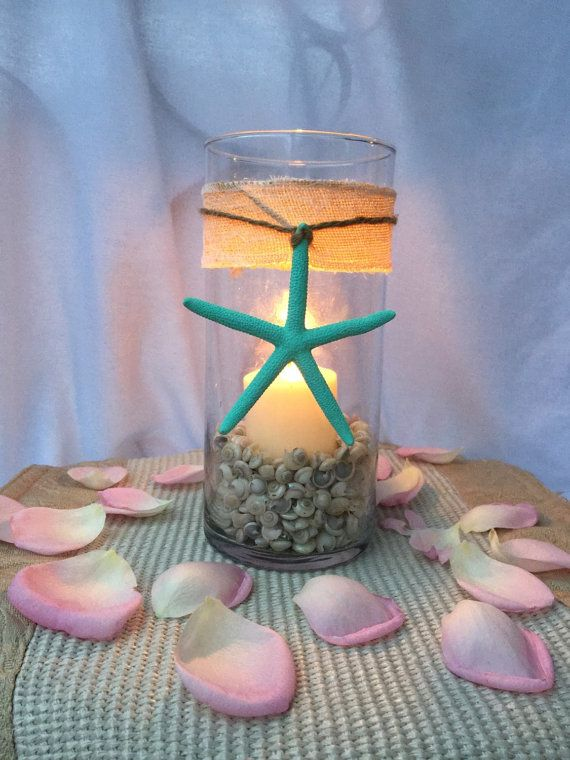 beach wedding candle centerpiece starfish shell burlap lace