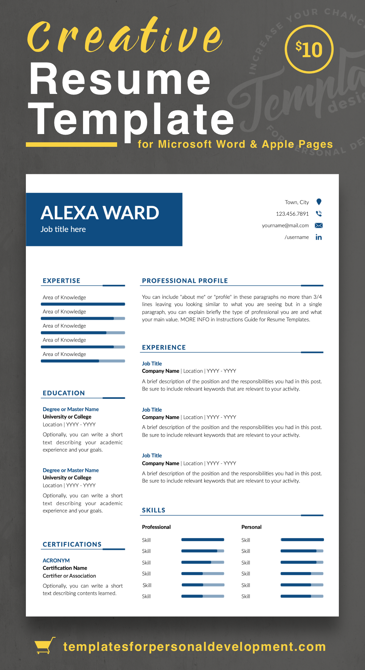 Modern And Professional Resume Cv Template For Ms Word Apple Pages In 2020 Resume Templates Resume Simple Resume