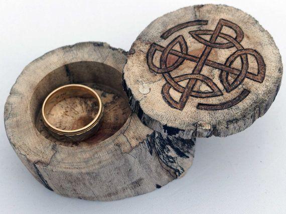 Celtic knot ring box 1 38 chamber keepsake in driftwood small
