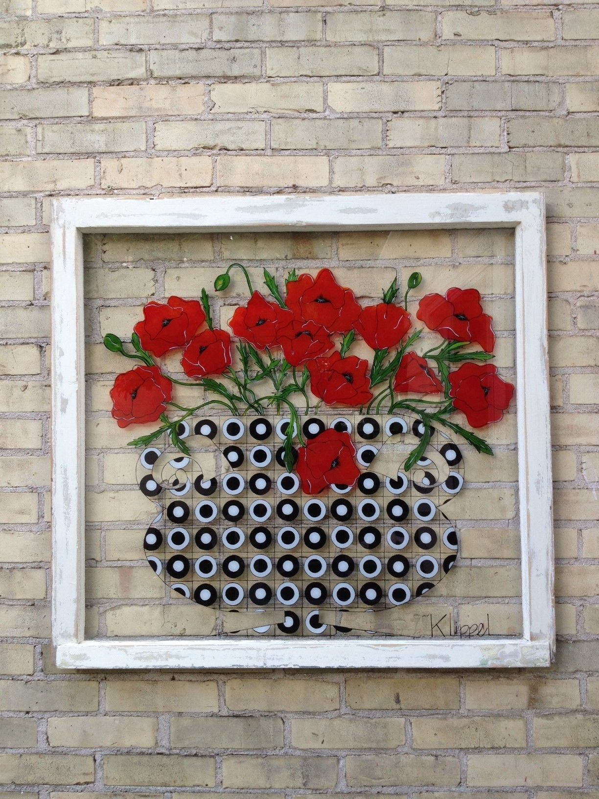 101 hand painted window using acrylic paint on back of glass. red