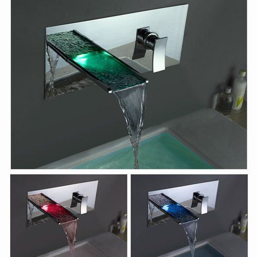 Single Handle Wall Mount Waterfall Bathroom Sink Faucet With Build