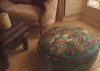 embroidered faux suede pouffe