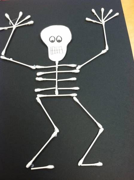 Très Squelettes de coton-tiges | Coton tige, Papier noir et Le squelette DA13