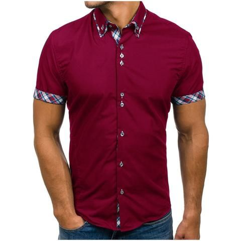 5XL Cotton Blend Mens Short Sleeve Big Size Summer Colours Plain Shirts 3XL