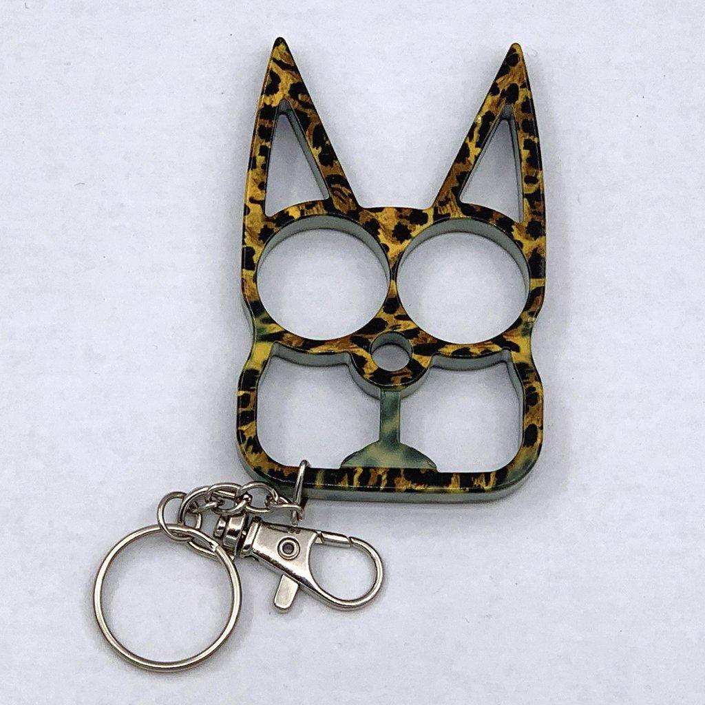 Cat Self Defense Keychain Leopard Print Self defense