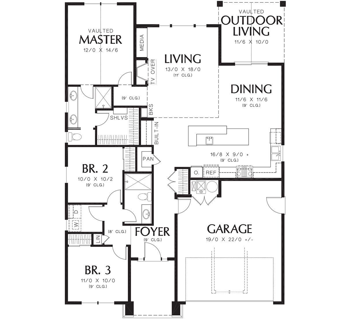 House Plan 2559 00679 Craftsman Plan 1 529 Square Feet 3 Bedrooms 2 Bathrooms Narrow House Plans House Plans How To Plan