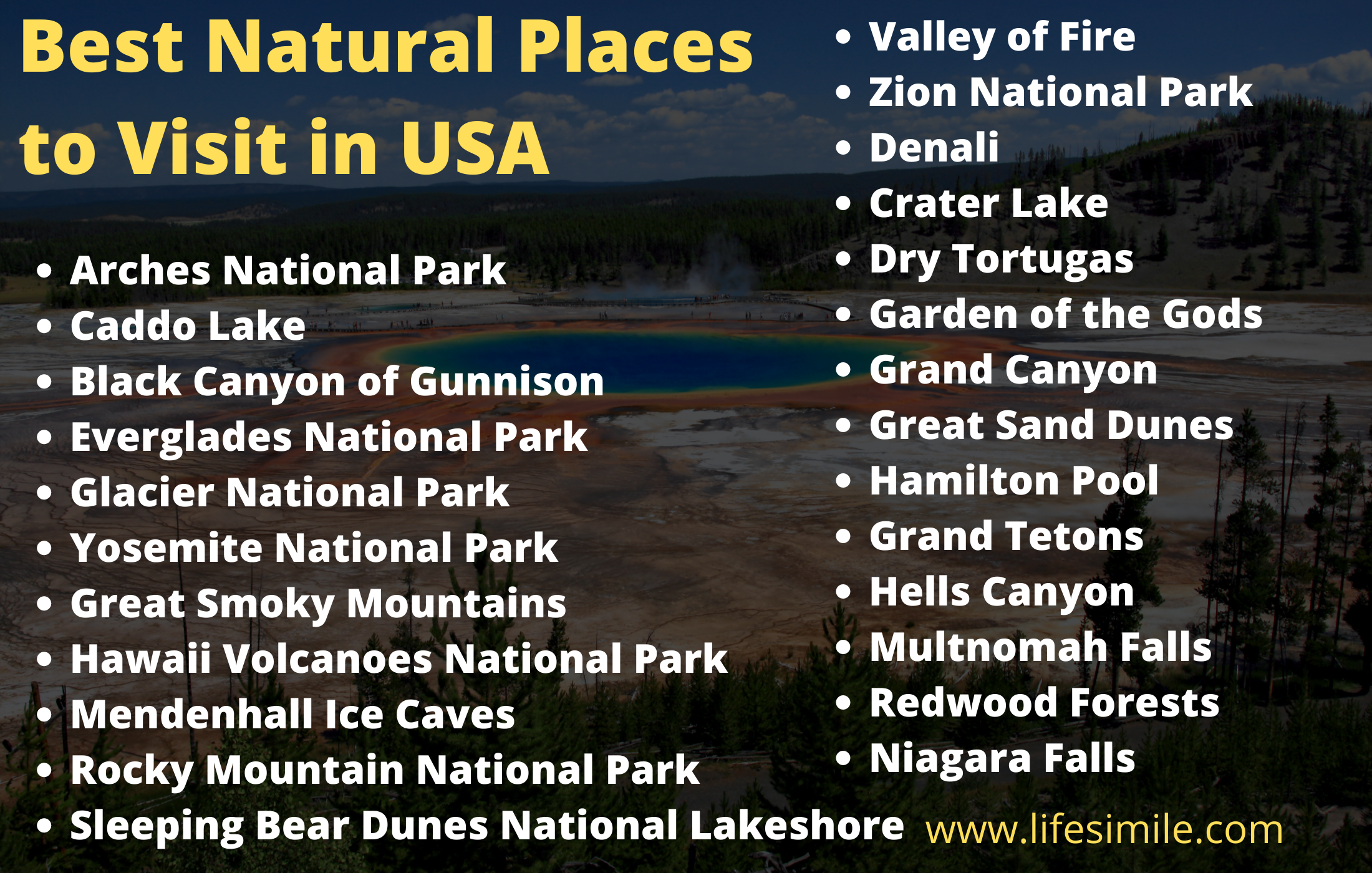 Best Natural Places to Visit in USA best natural places to visit in usa