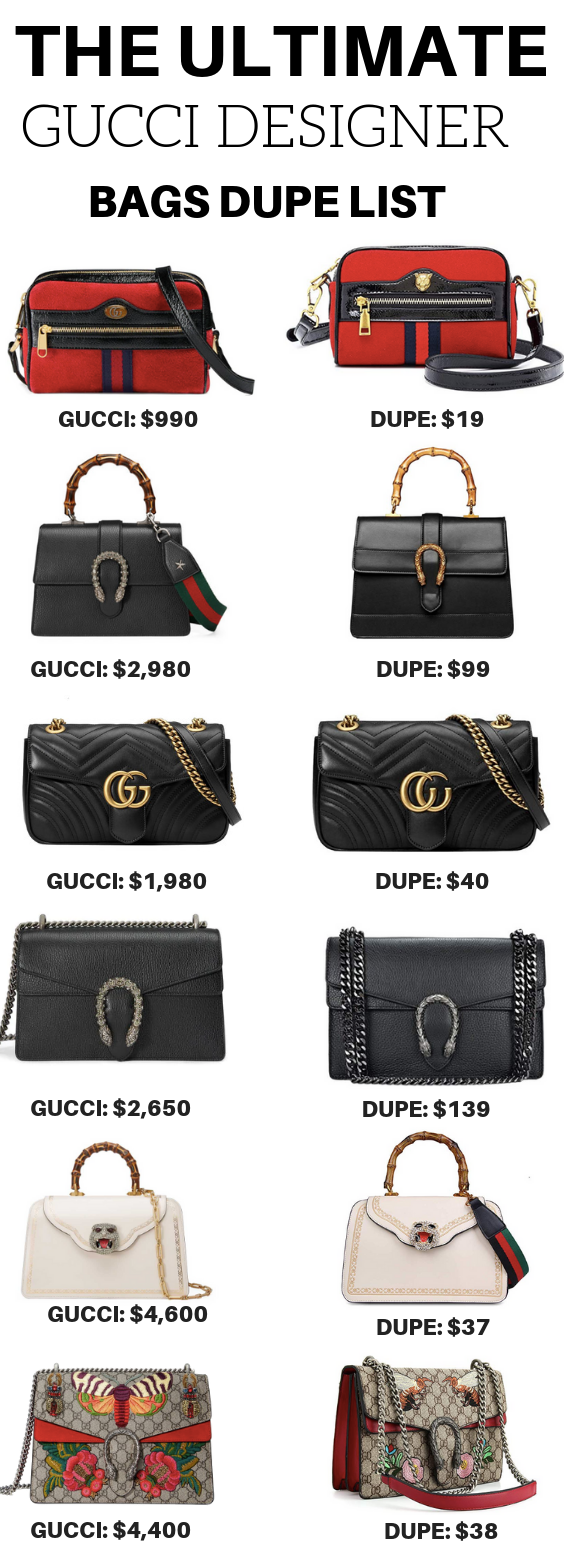 36daaa0c520 The ultimate Gucci designer bags dupe list for major savings on designer  handbag dupes. These Gucci dupe bags are very affordable.