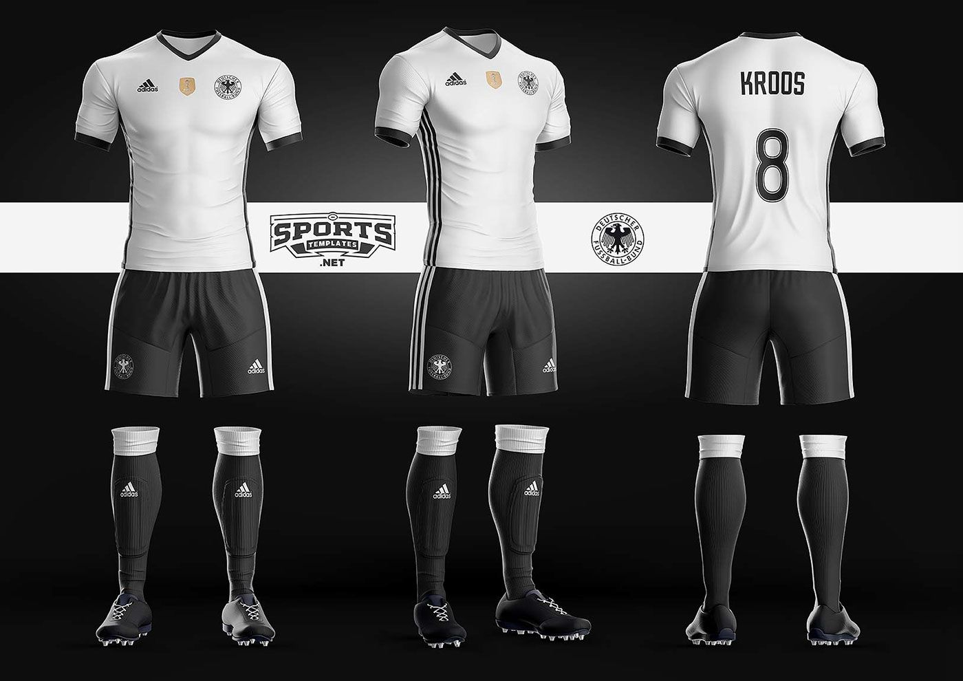 size 40 5b68b 70569 German Soccer Kit Uniform Template Adidas | Sports Mockups ...