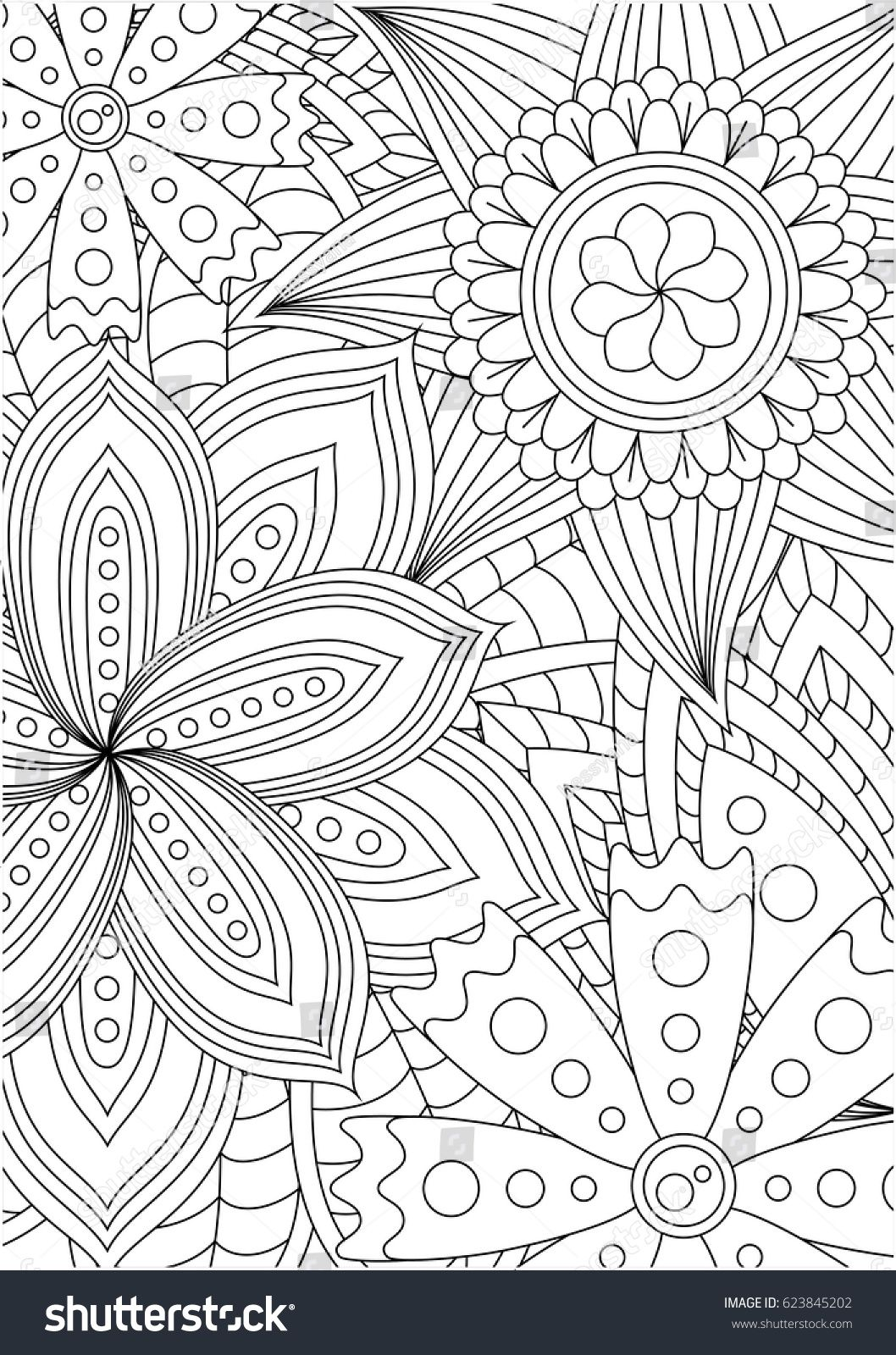 Hand Drawn Decorated Image With Doodle Flowers And Mandalas In Zen Style
