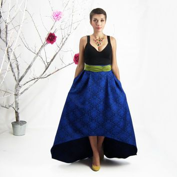 Maxi Skirt, High Low Skirt, Blue Jacquard Skirt, Plus Size Maxi ...