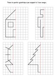 Exercices Ludiques A Imprimer Symetrie Sur Quadrillage Jeux Gratuits Pour Enfants Axe De Symetrie Symetrie