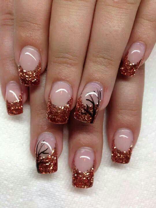 copper - black glitter nail