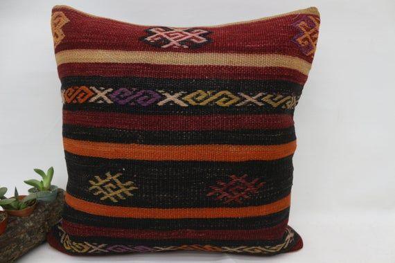 18x18 Turkey Kilim Pillow, Oriental Pillow, Best Pillow Cover,Throw Pillows, Home Design Pillow, Red
