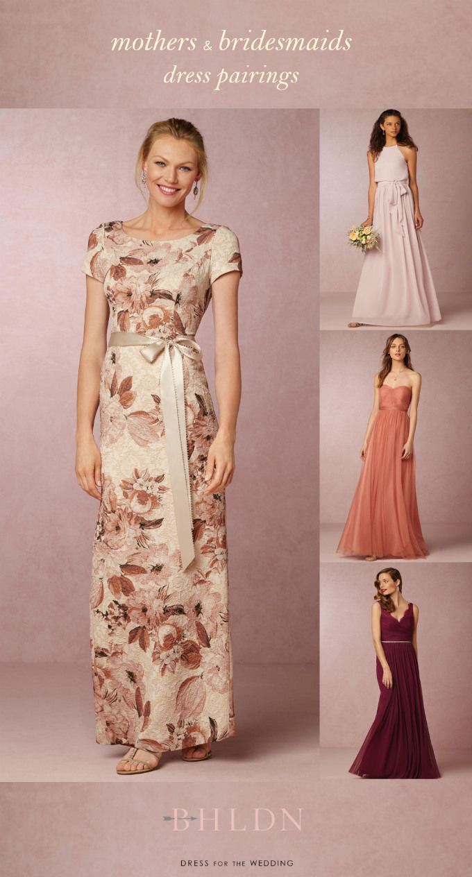 be6e22cb66 This pretty floral mother of the bride dress from @BHLDN Coordinates with  pink, coral, or burgundy #bridesmaid dresses