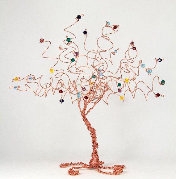 Family Tree Birthstone Wire Tree Sculpture Custom Art Decor Mothers ...