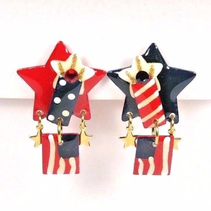 MAM Designs Red White Blue American Flag Clip Earrings