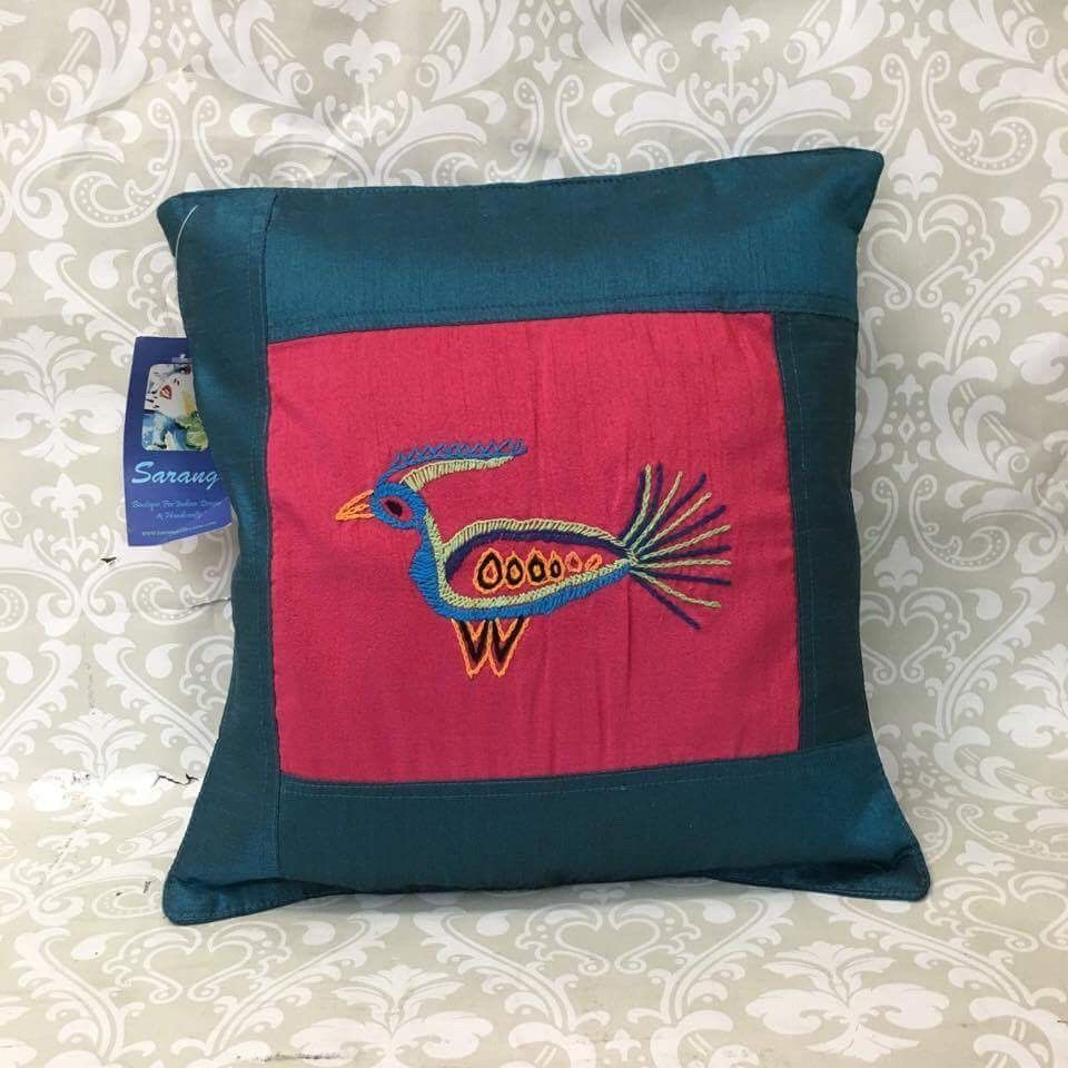 Single Silk Embroidered Pillow Cover