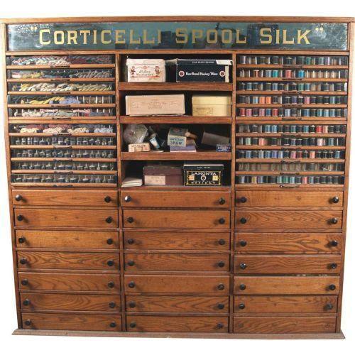 Antique Merchant Spool Display Cabinet