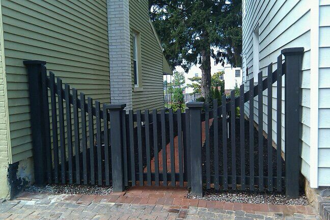 Black Picket Fence And Gate Backyard Fences Fence Landscaping Rustic Fence