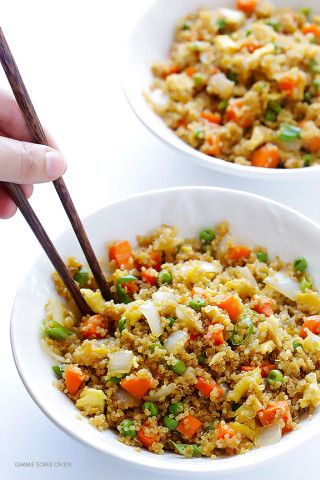 """Quinoa Fried """"Rice"""" -- all of the great flavors of fried rice, made with protein-packed quinoa instead of rice!   gimmesomeoven.com"""