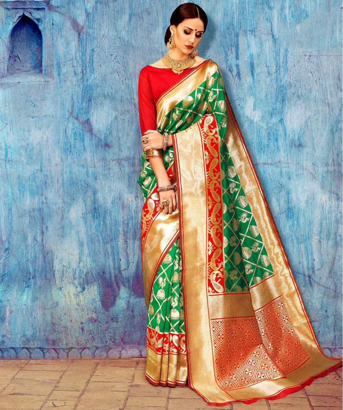 Green wedding wear silk saree | Wedding wear | Pinterest | Wedding ...