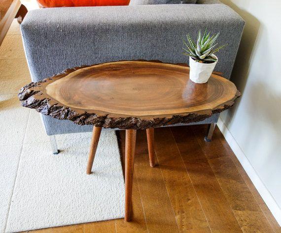 Artisan Wood Slice Table Live Edge Side Table Tree Trunk Table Tree Slice Table Black Walnut End Tab Slab Table Live Edge Live Edge Table Wood Slab Table