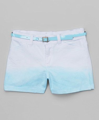 Look what I found on #zulily! Aqua Belted Shorts - Girls #zulilyfinds