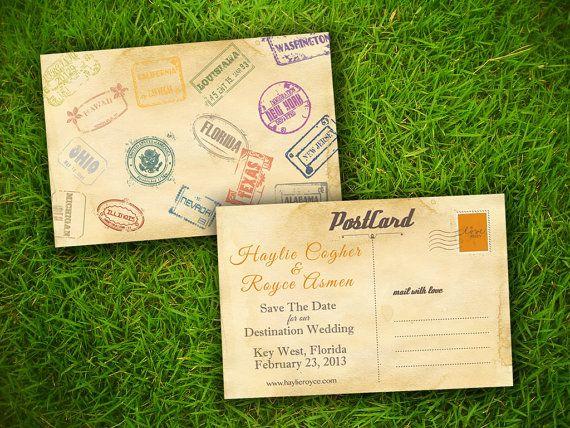 Save The Date Wedding Postcard Vintage Retro Travel
