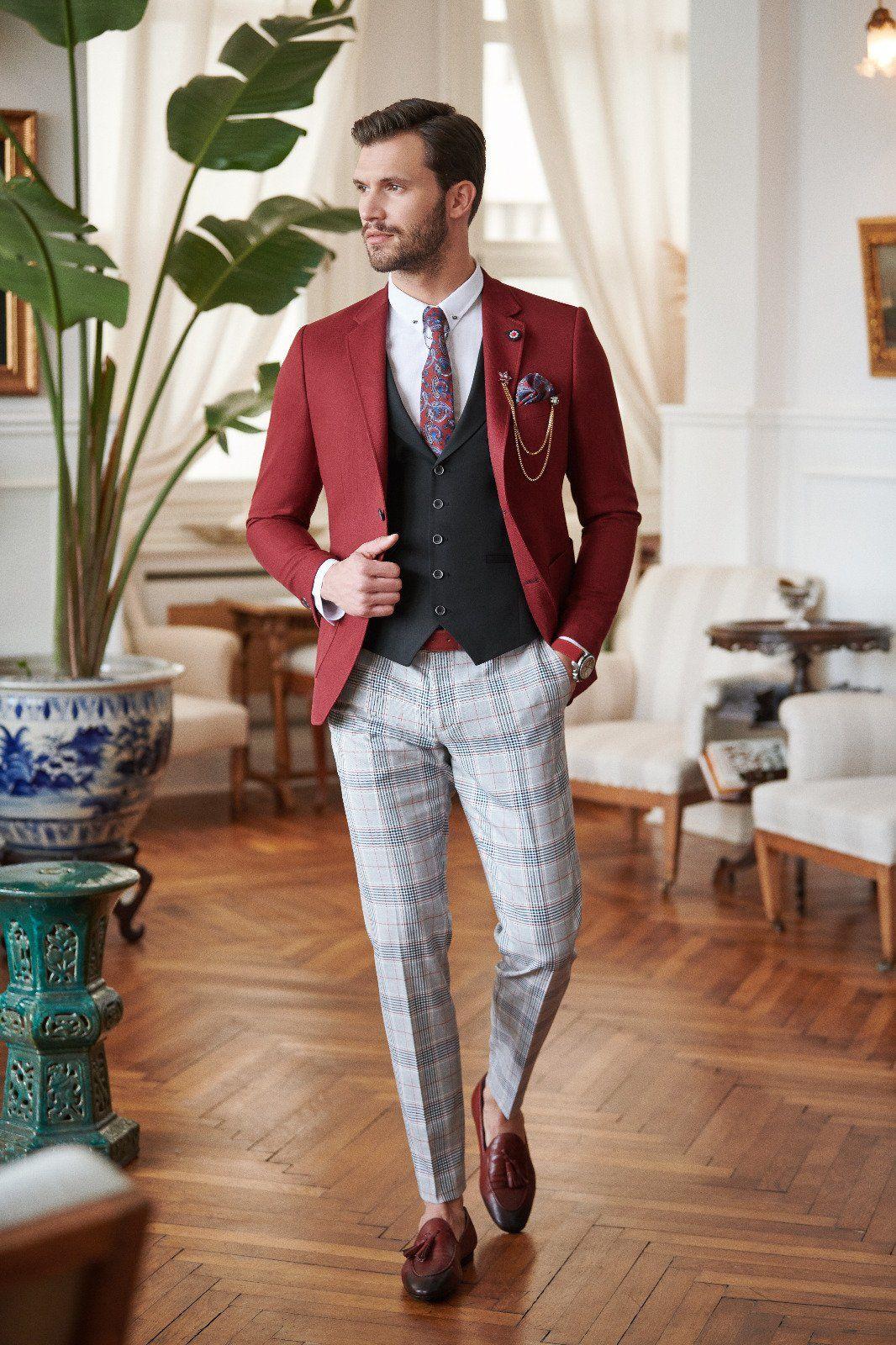 Slim-Fit Suit Vest Claretred #menssuits
