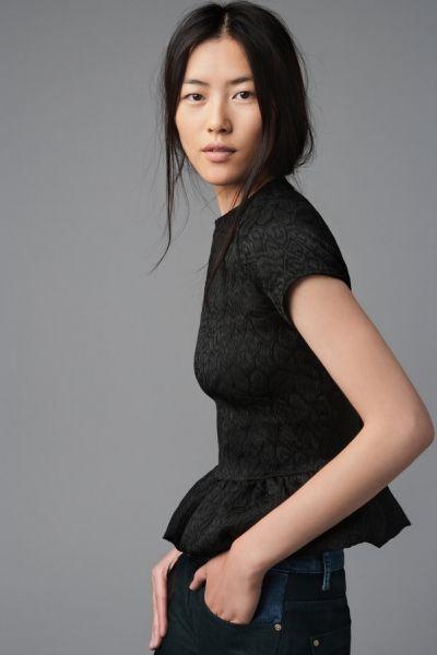 125a52e6 Liu Wen Zara Lookbook, Lace Peplum, Liu Wen, Zara Portugal, Zara Spain