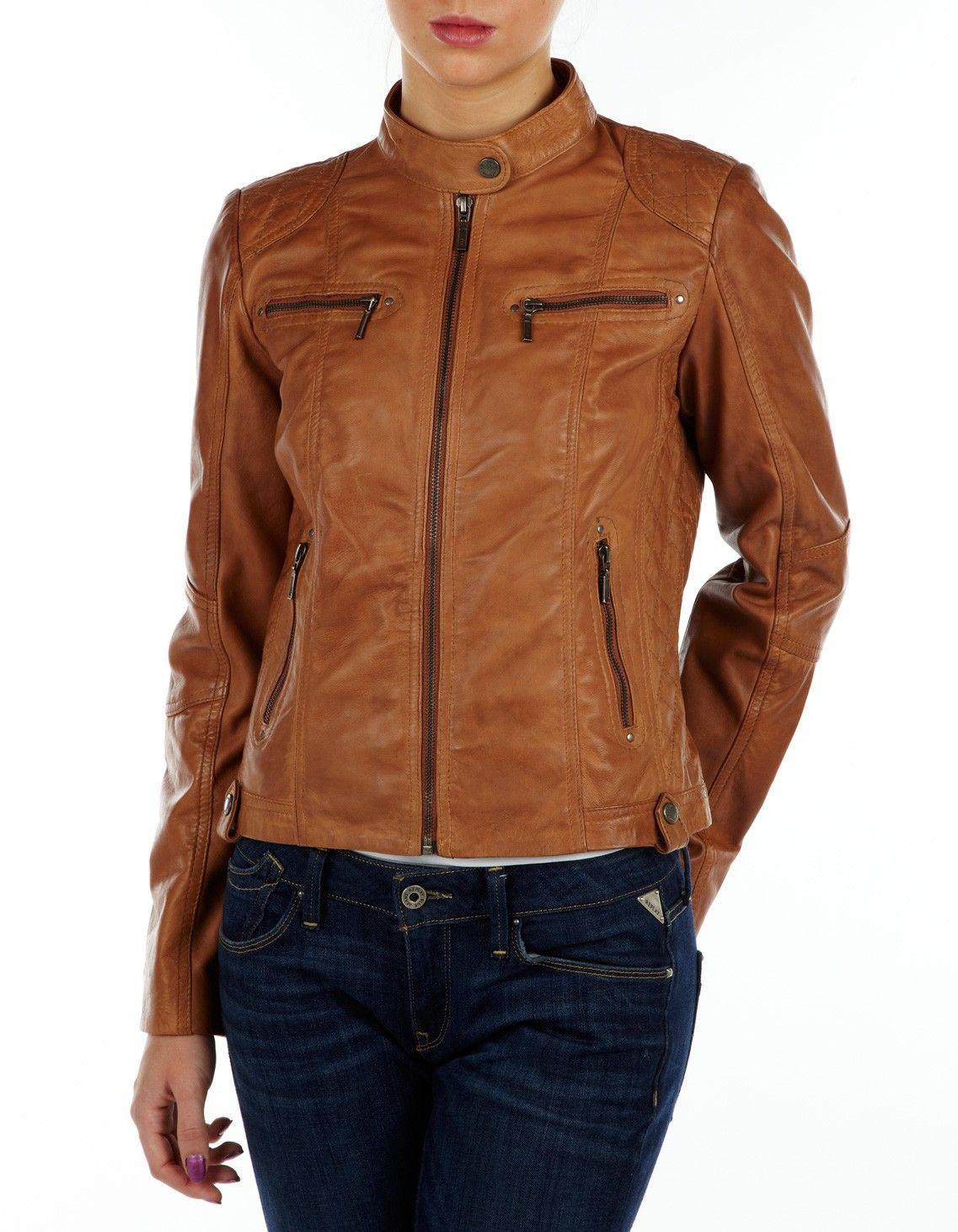 Helium Leather Biker Jacket Tan Leather jackets