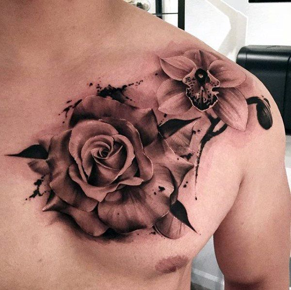 70 Orchid Tattoos For Men Timeless Flower Design Ideas Rose Tattoos For Men Rose Chest Tattoo Chest Tattoo Flowers
