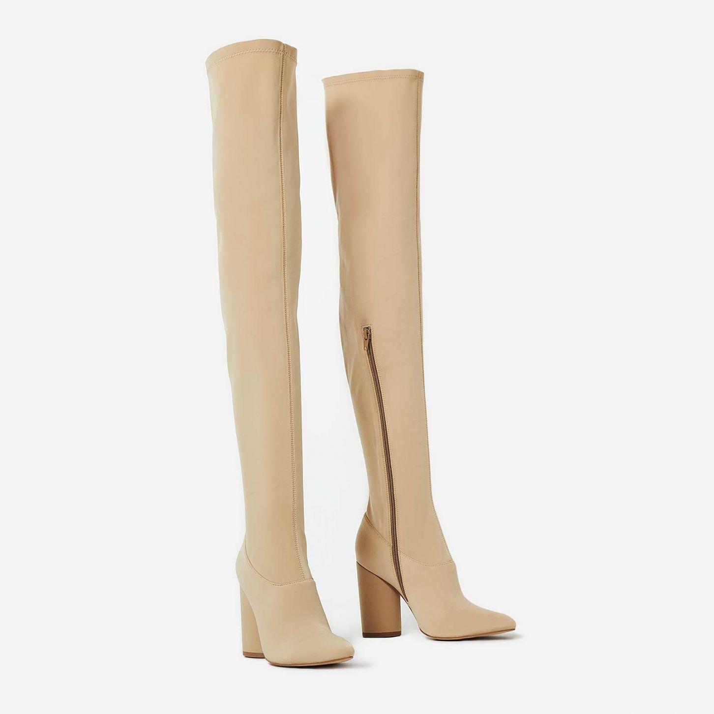 1237fda55fae Jamila Thigh High Long Boot In Nude Lycra