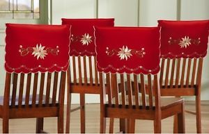 Set Of 4 Christmas Elegance Embroidered Holiday Chair Back Covers Fundas Para Sillas Navidad Cubre Sillas Silla De Navidad