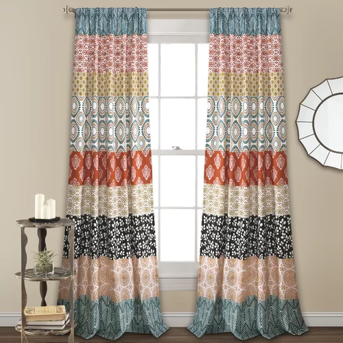 Tamela Damask Floral Semi Sheer Rod Pocket Curtain Panels Lush Decor Curtains Bohemian Curtains