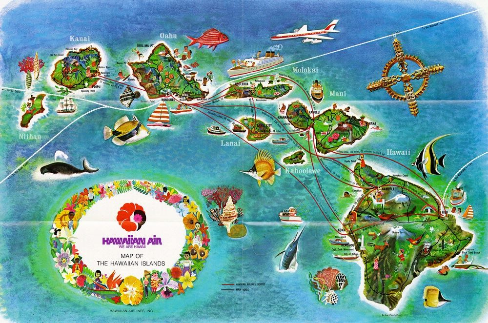 Hawaiian Airlines map of Hawaii The Big Island of Hawaii is