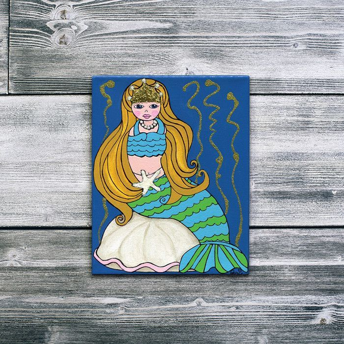 Magical Mermaid - Hand Painted Acrylic, Watercolor on Canvas - Children Art and Nursery Art