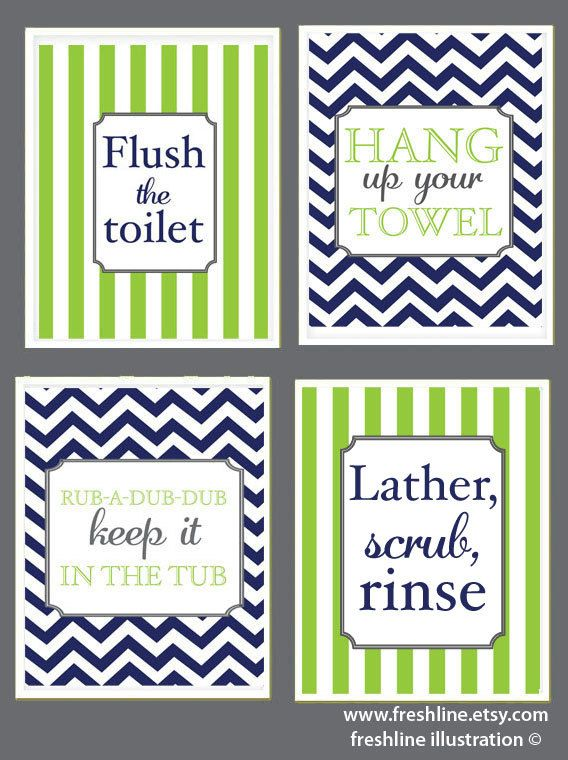 Kids Bathroom Cute Sayings Flush The Toilet Hang Up Your Towel